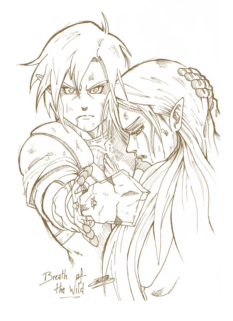 zelda breath of the wild coloring pages - breath of the wild link and zelda by captainjuu on