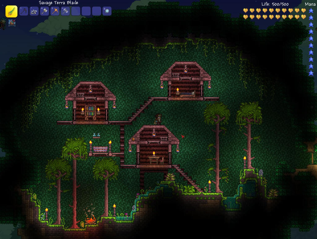 Terraria tree house by teslaslayerx on deviantart for Terraria house designs