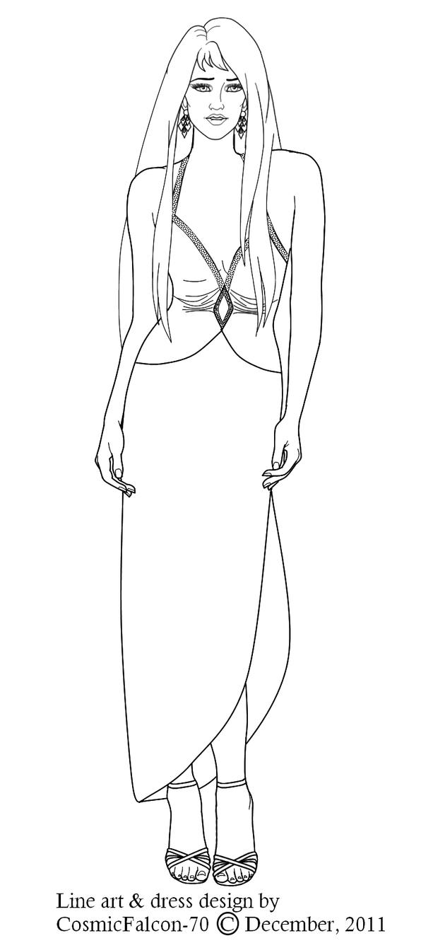 Line Drawing Dress : Minx s evening dress line art by cosmicfalcon on deviantart