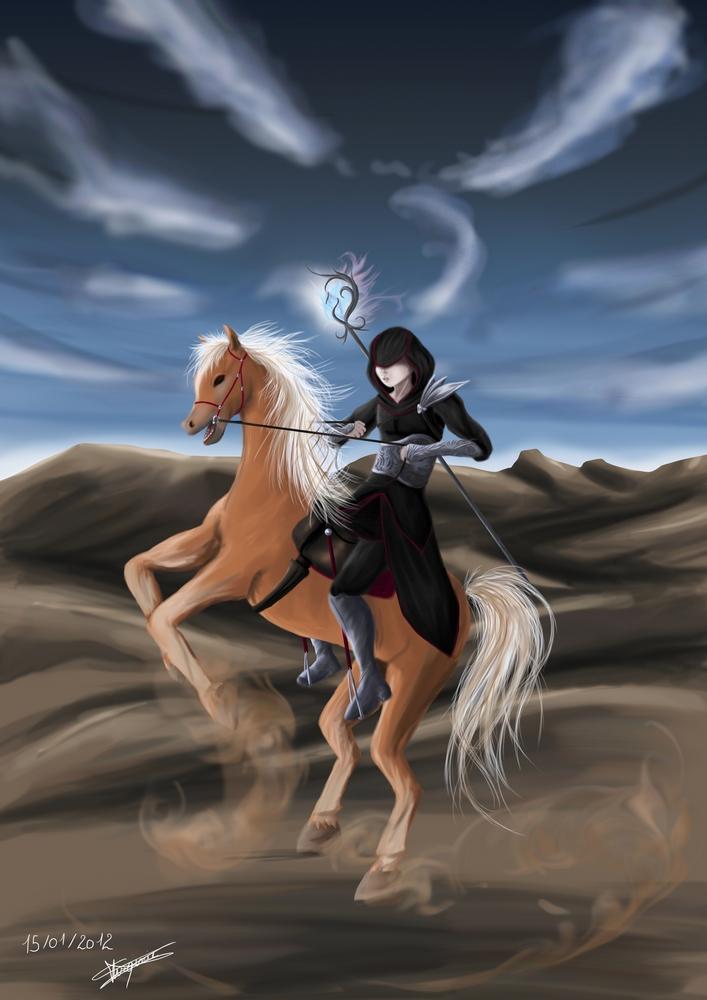 The necromancer riding his pony by myssbluestar