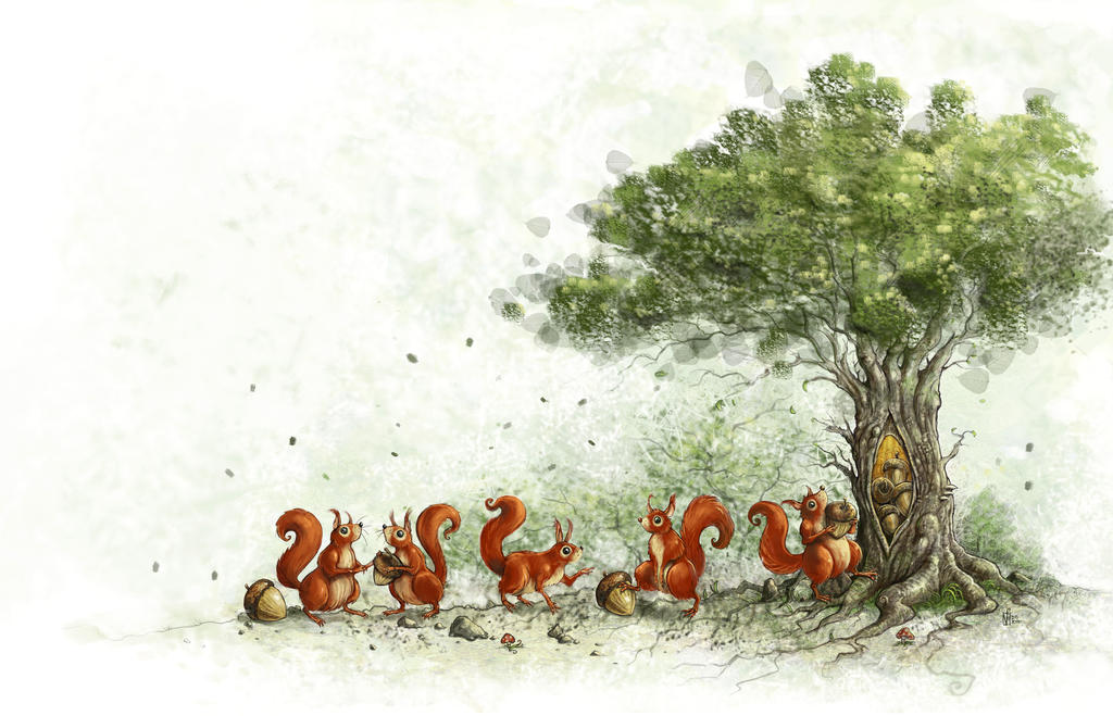 Squirrels and a tree
