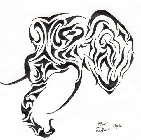 Tribal elephant head tattoos