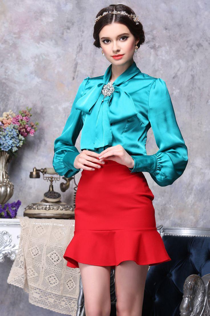 Women Wearing Satin Blouses 36