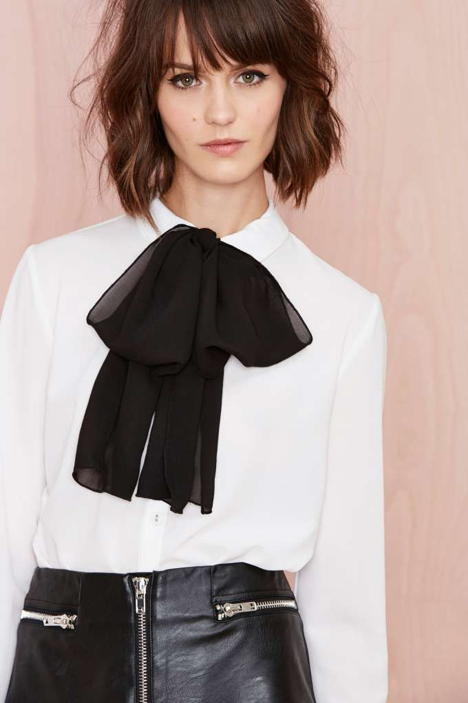 Black Bow White Blouse Leather Skirt By Veronarmon On