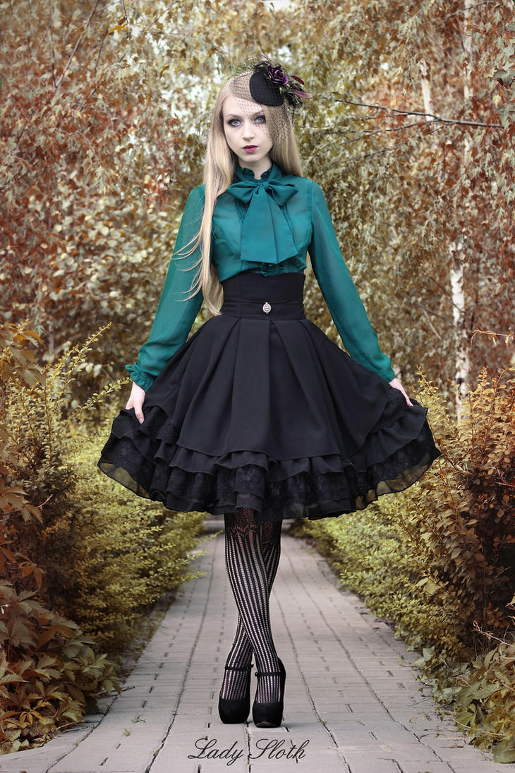 Green bow blouse with Gothic skirt by veronarmon