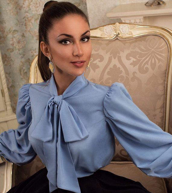 Cyan silk bow blouse by veronarmon