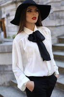 Hat and contrast bow blouse by veronarmon