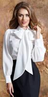 Long bow white blouse