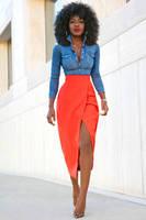 denim top and orange skirt by veronarmon