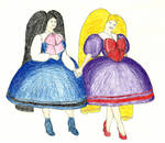 Diva and Linna walking in Lolita dresses by veronarmon