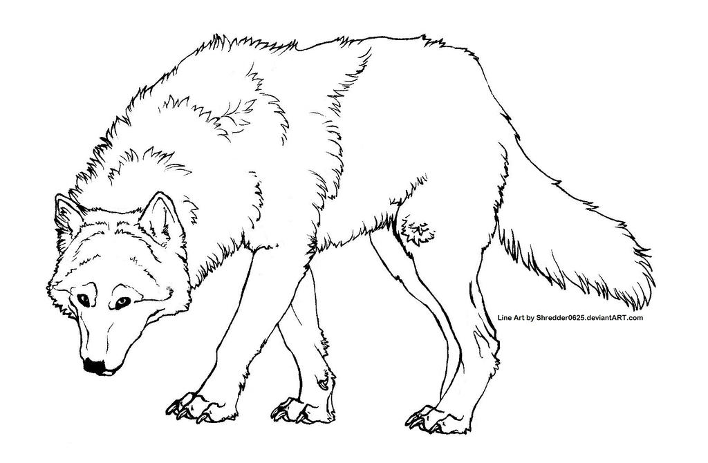 Line Drawing Wolf : Free wolf line art by ooupoutto on deviantart