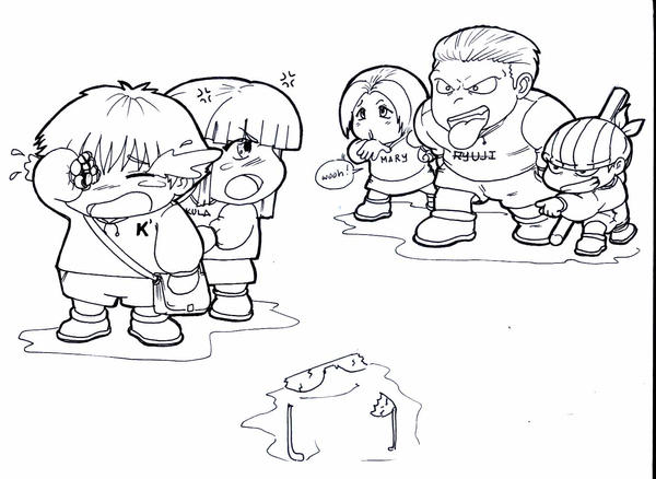 KOF bullies line art by karlonne