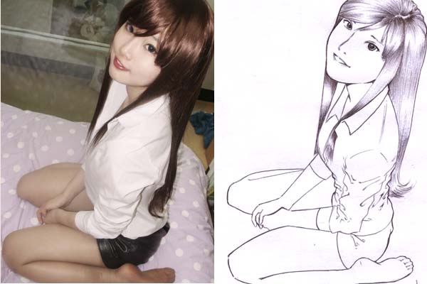 KOREAN cosplayer - line art by karlonne