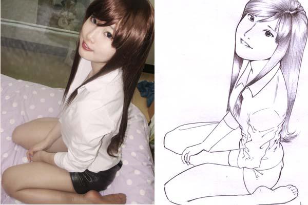KOREAN cosplayer - line art by karlonne