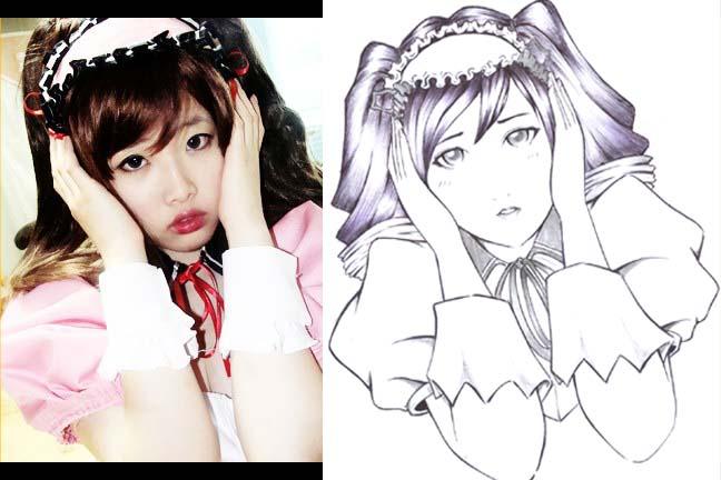 korean cosplayer 2 - line art by karlonne