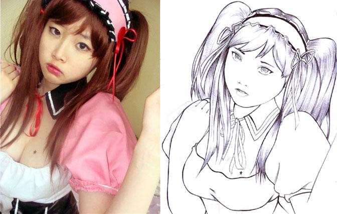korean cosplayer 3 - line art by karlonne