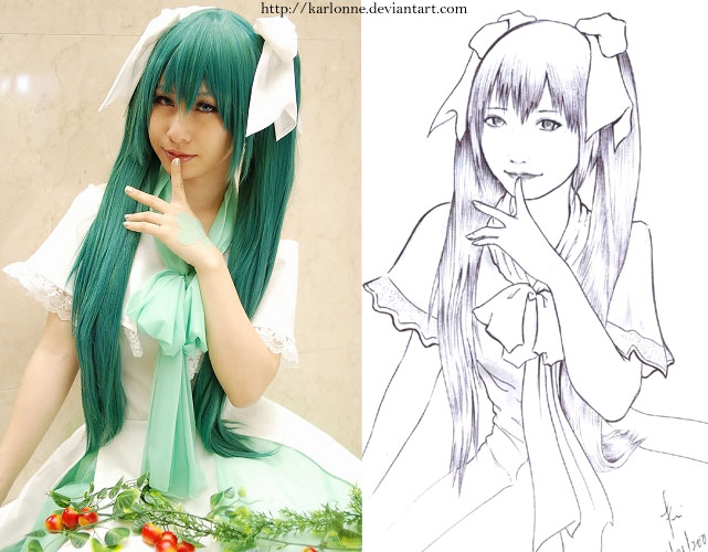 japanese cosplayer 1 line art by karlonne