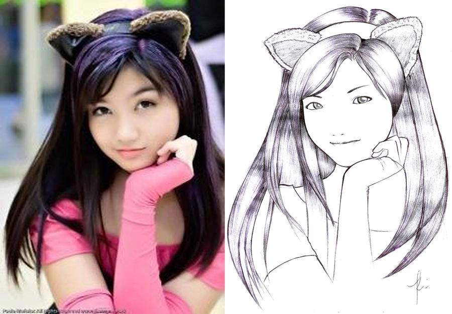 cebu girl cosplayer line art by karlonne