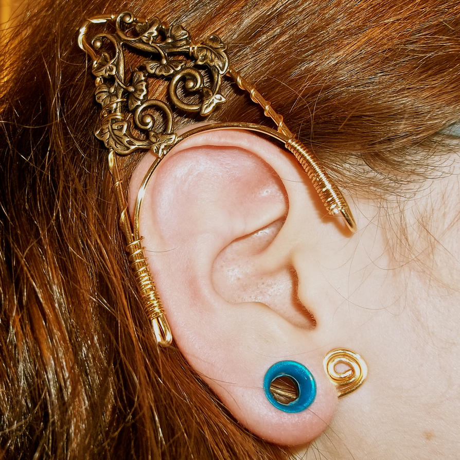 Elf Faerie Ear Cuffs Large Vine Filigree By Kimnichole On Deviantart Elven Wraps Wire Cuff Template
