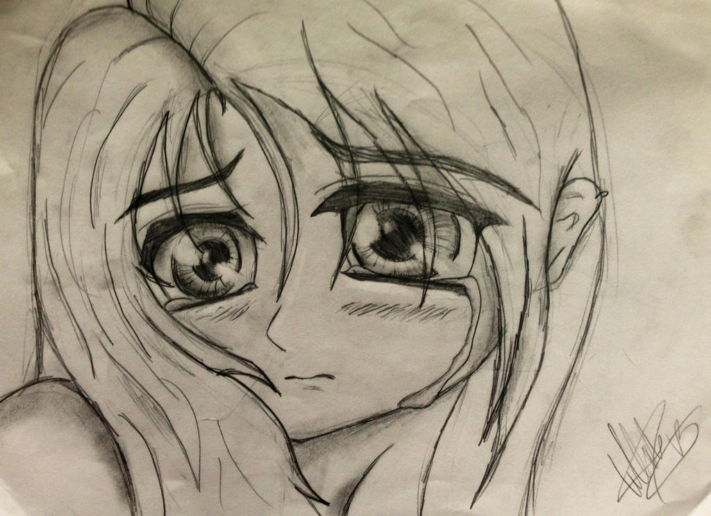 Crying Anime Girl sketch by TellabArt on DeviantArt