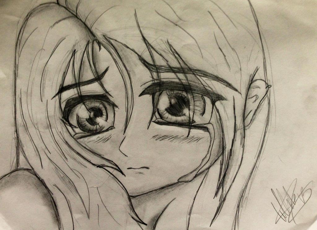 Crying Anime Girl sketch by TellabArt on DeviantArt