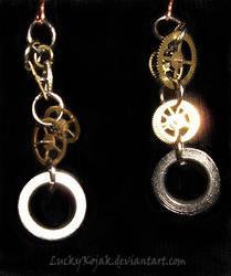 clockgear-chain earrings by LuckyKojak