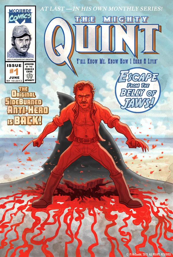 Jaws Book Cover Art : Quint from jaws wolverine mashup poster by mcquade on