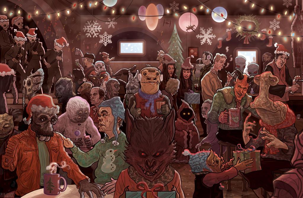 Noël 2015-2016 Star_wars_mos_eisley_cantina_scene_christmas_card_by_mcquade-d6wk2el