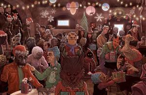 Star Wars Mos Eisley Cantina Scene Christmas Card by McQuade