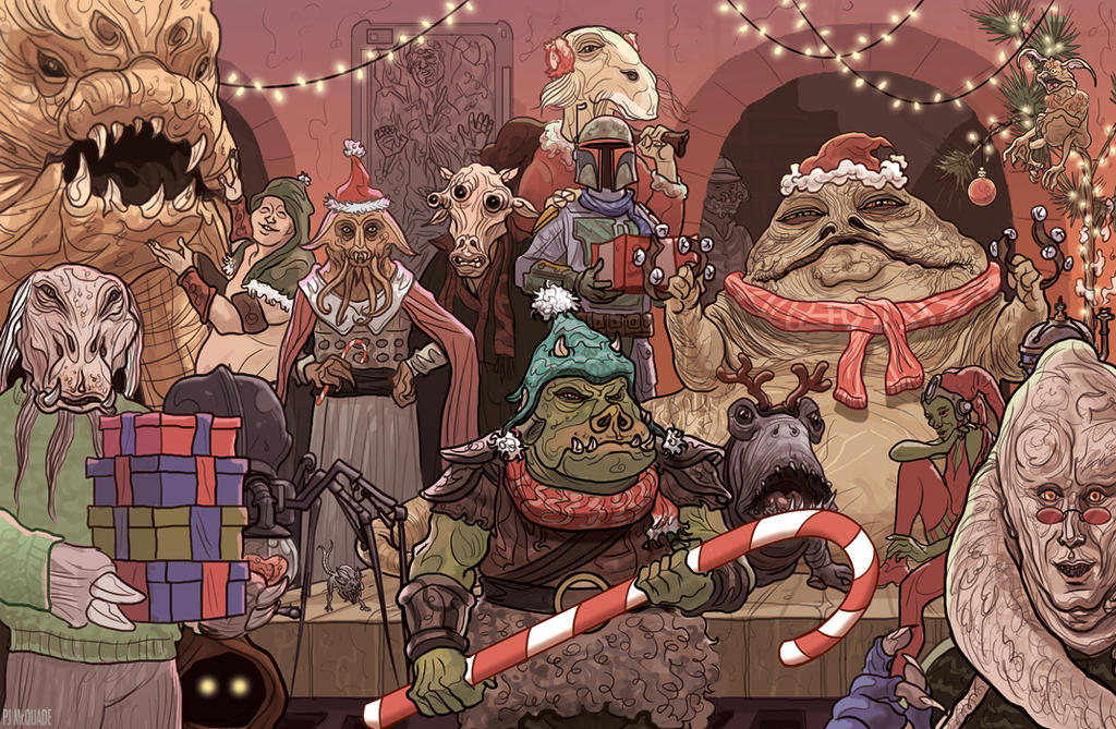 Jabba the hutt christmas card star wars by mcquade on for Cool christmas art