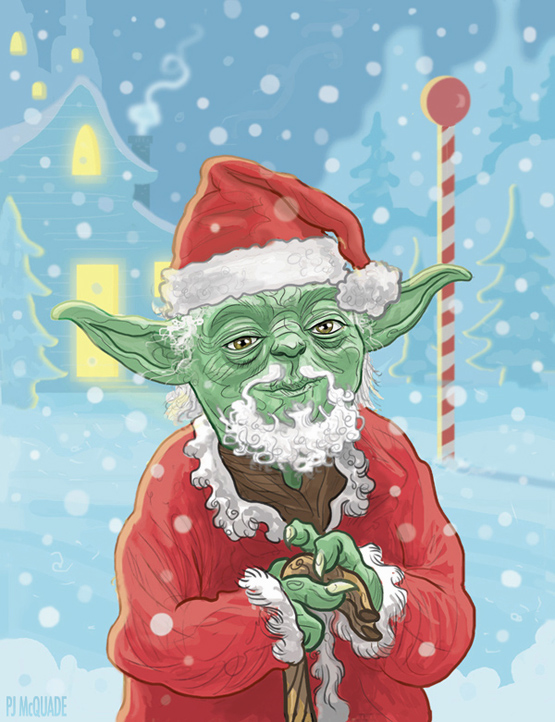Yoda Claus Star Wars Christmas Card by McQuade