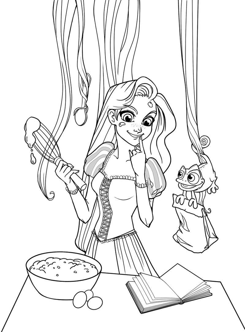 Rapunzel Lineart : Cooking rapunzel lineart by shaya on deviantart