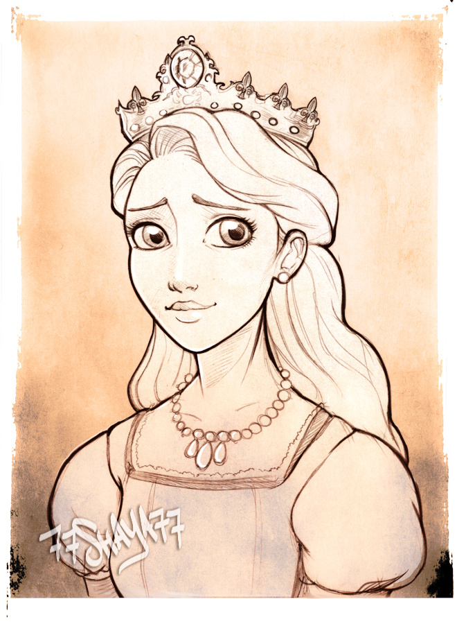 Rapunzels mother the queen sketch by 77shaya77