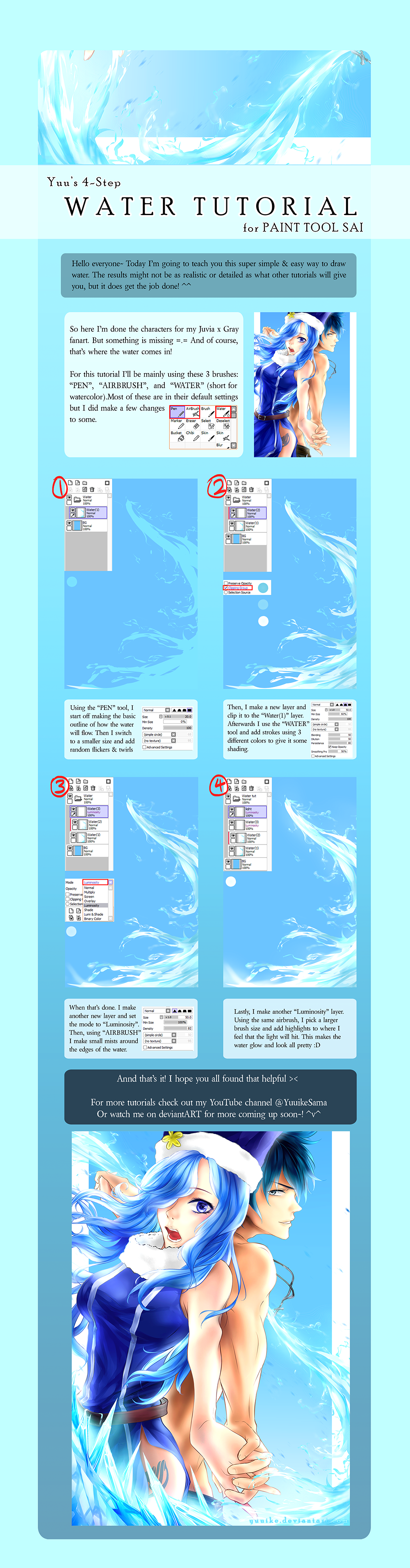 4 step water tutorial by yuuike on deviantart for Painting on water tutorial