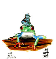 Stacked Frogs by jactinglim