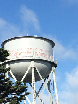 Alcatraz water tower with graffiti