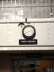 the clock at times square and under it the dining