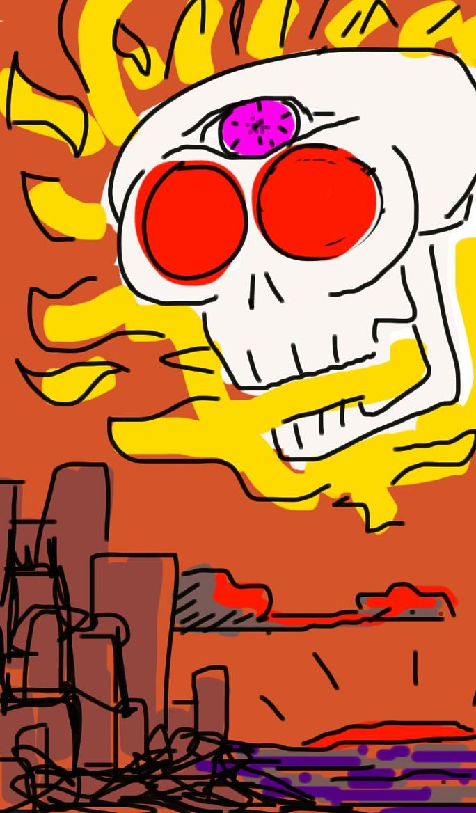 Skull Attacks City by FunkyJupiter