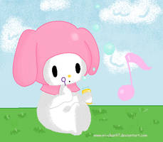 My Melody: Blowing bubbles by Mi-Chan97