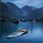 Evening on the lake at the glacier Folgefonna by YuppiDu