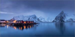 Landscape with cabins at dusk on Lofoten