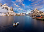 View of the Reine with a boat by YuppiDu