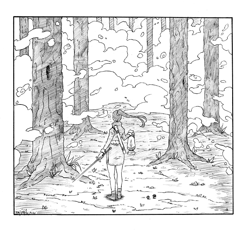 Lamp in the Woods (pen and pencil) by theonlybriman47