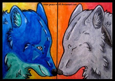 ACEO Akua and Lakiya by Peace-Wolf by AkuaSeaWolf