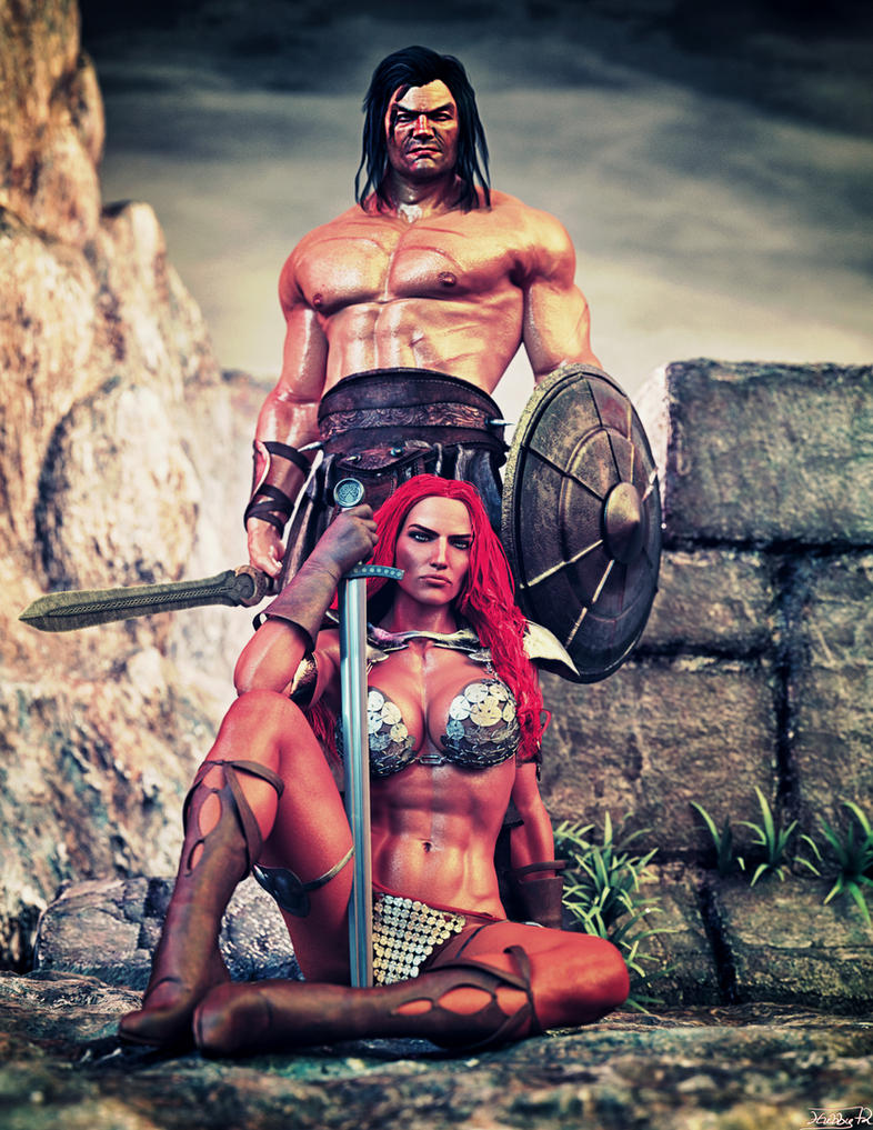 Red Sonja and Conan the barbarian by Hubby72