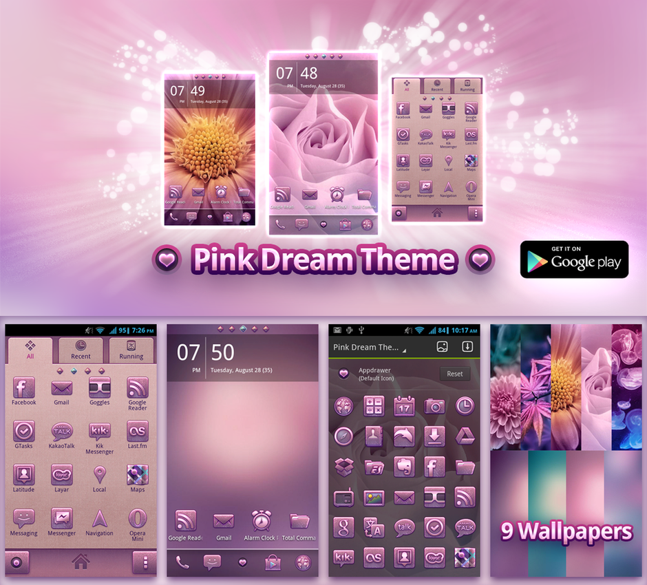 Pink themes for gmail - Pink Dream Theme For Go Launcher Ex By Etherealdesignde