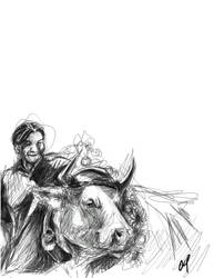 Roger Federer and his Cow by marourin