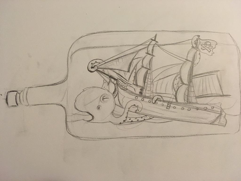 Kraken attacking ship in a bottle (1/2) by AnnoyingDoge7