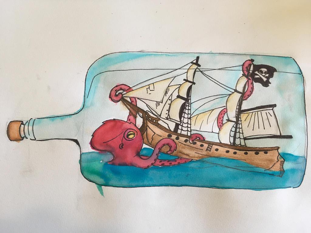 Kraken attacking ship in a bottle (2/2) by AnnoyingDoge7