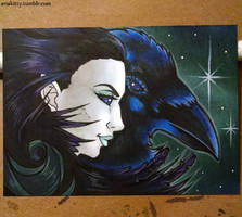 [Drawlloween 2015] Day 11: Raven by ariakitty